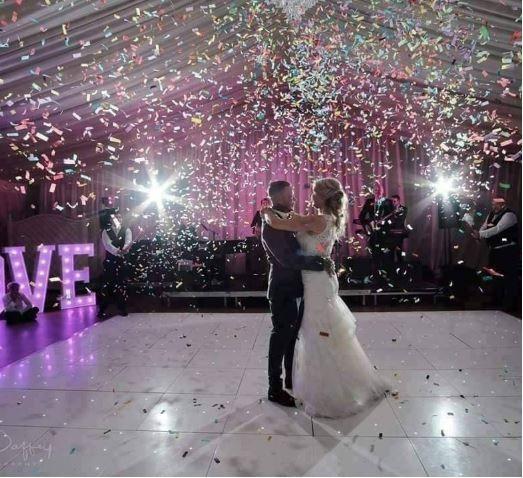 Dancing under confetti