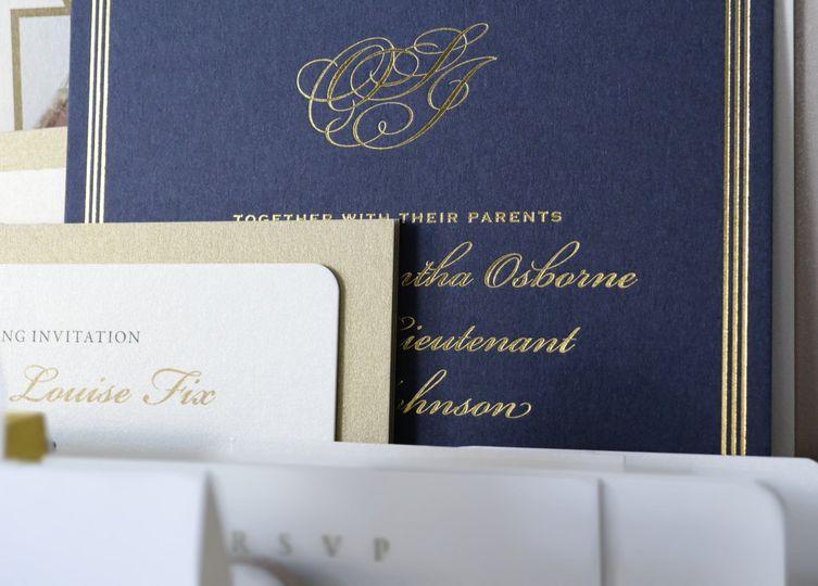 Navy gold foil invitation