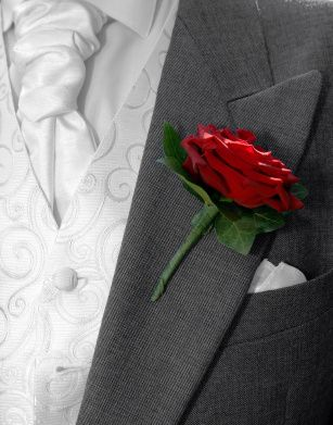 Large Headed Red Rose Buttonhole