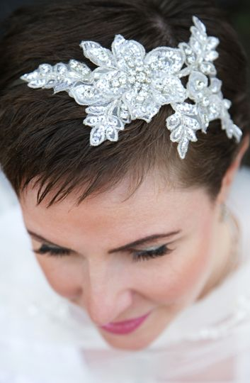 Lace and crystal headpiece