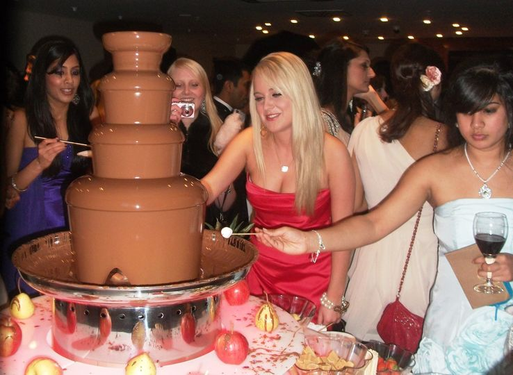 Chocolate fountain with  multi-coloured mood changing led light surround