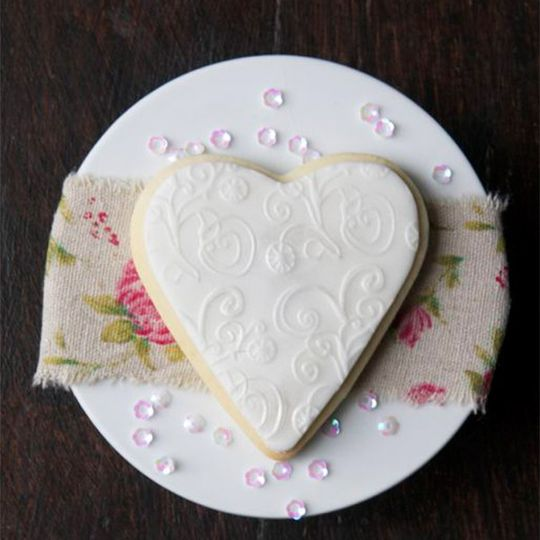 White heart shaped cookie