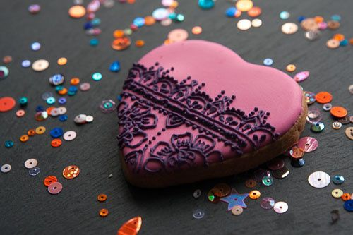 Intricate heart shaped cookies