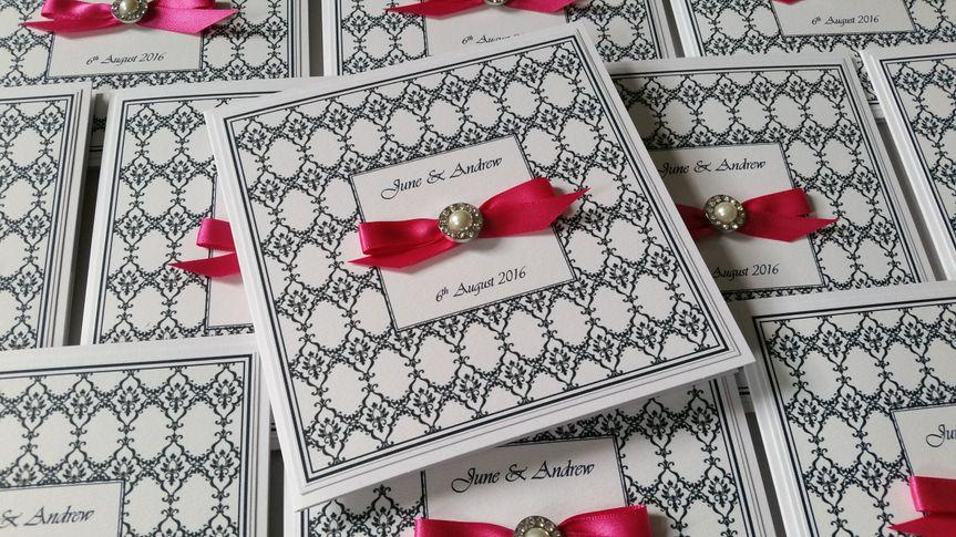 Damask pocketfold invitations