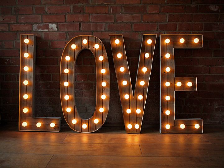 Wooden light up LOVE letters