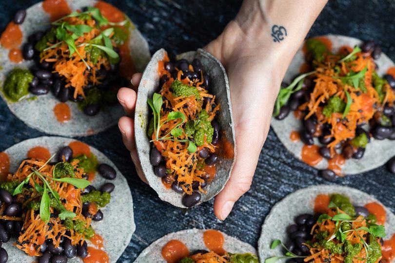 Vegan blue corn tacos