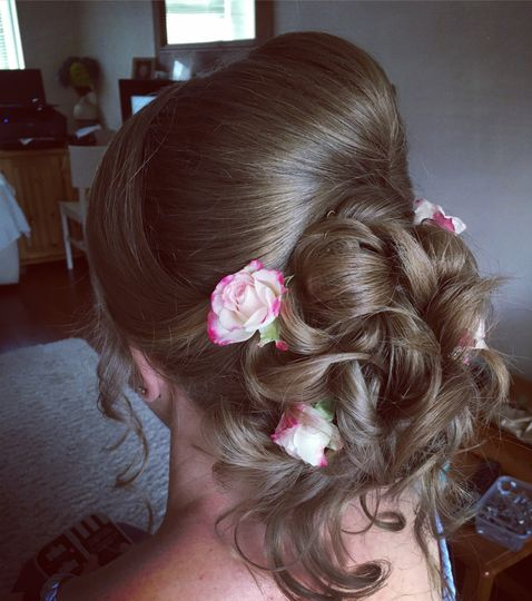 Floral hair updo