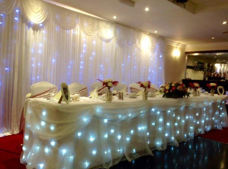 Twinkling backdrop & table
