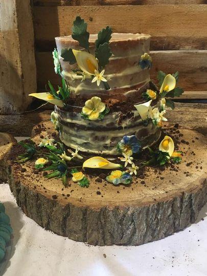 Naked cake on rustic display