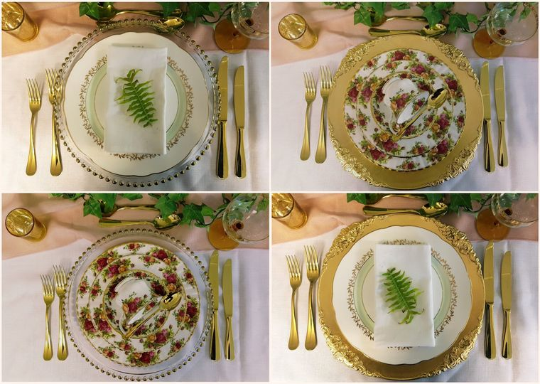 Gold cutlery & charger plates