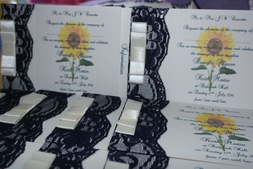 Navy lace and sunflower invite