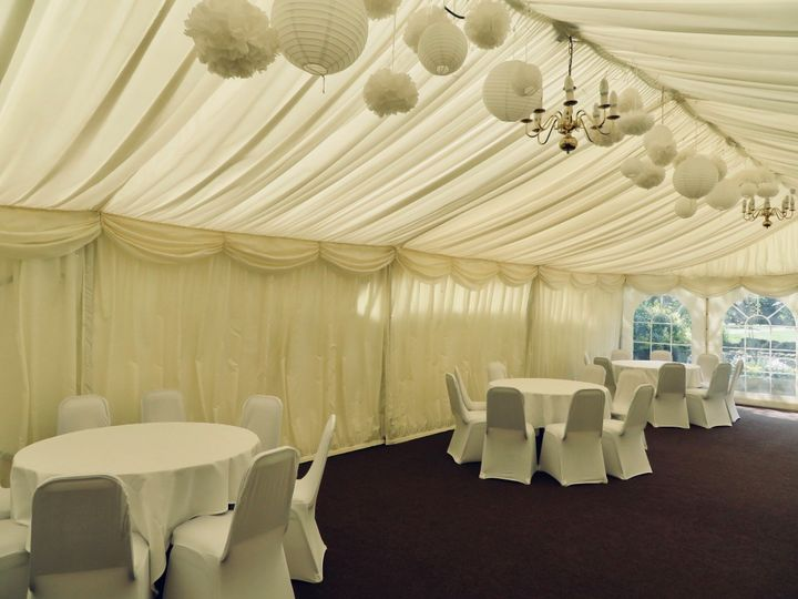 Marquee with dressed tables and chairs