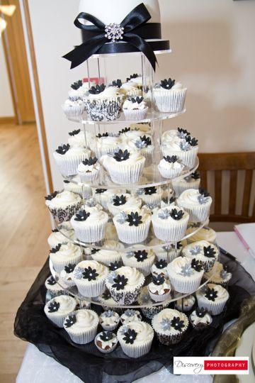 Black & White Cupcake Tower