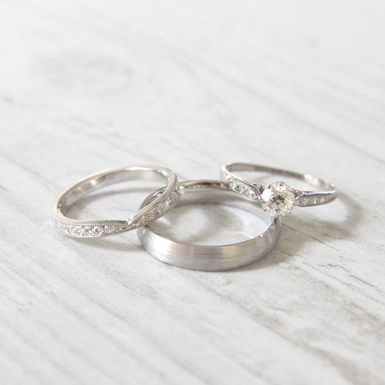 Engraved Shaped Wedding Band