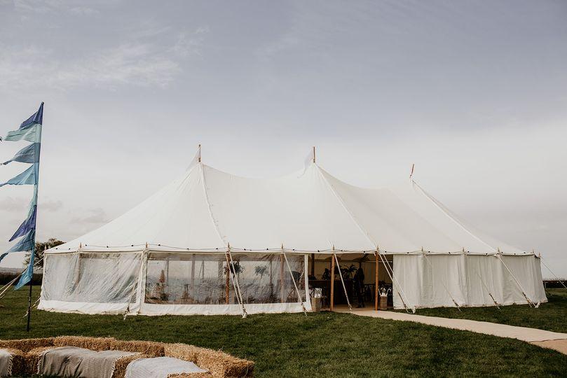 Sailcloth tent exterior