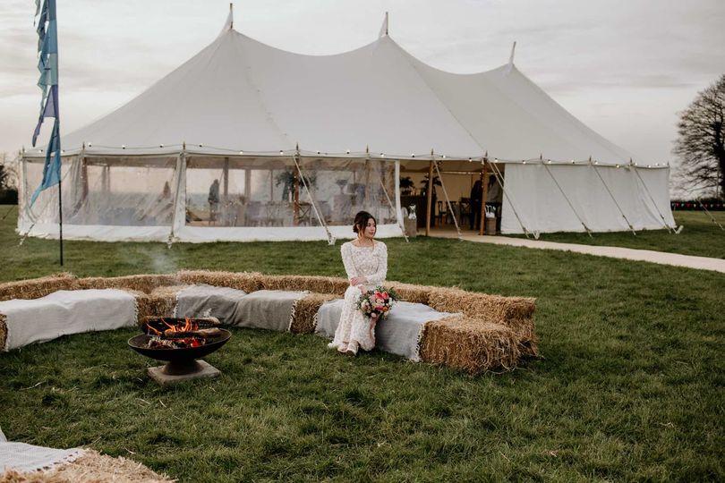 24m natural sailcloth tent