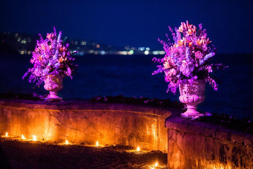 Illuminated sea terrace