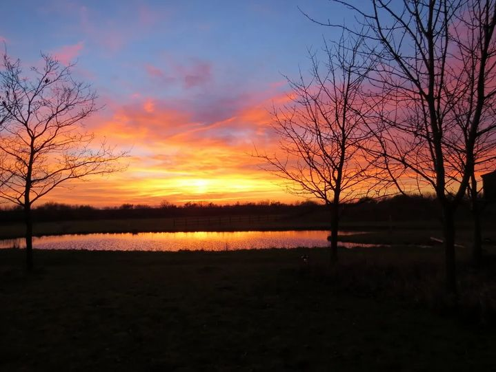 Sunset over the main pond