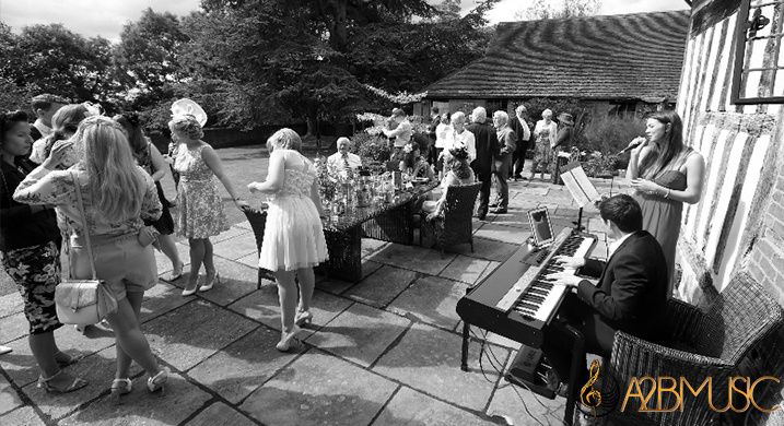 Performing outside at wedding