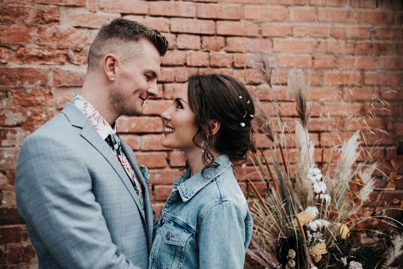 Adoring bride and groom