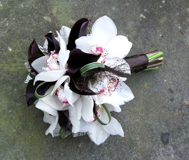 Beautiful white orchids and burgundy Calla lilies