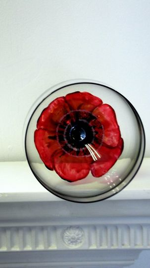 Hand painted poppy glass -