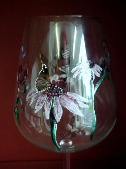 Hand Painted Butterfly Glass