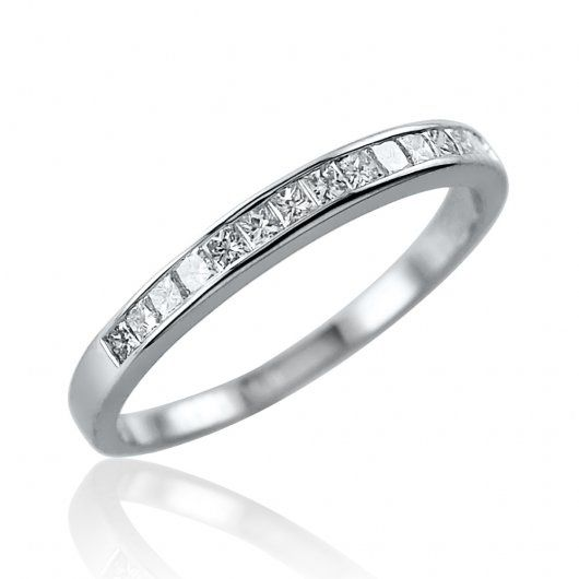 0.27ct Platinum Mounted Channel Set Princess cut Diamond half hoop ring