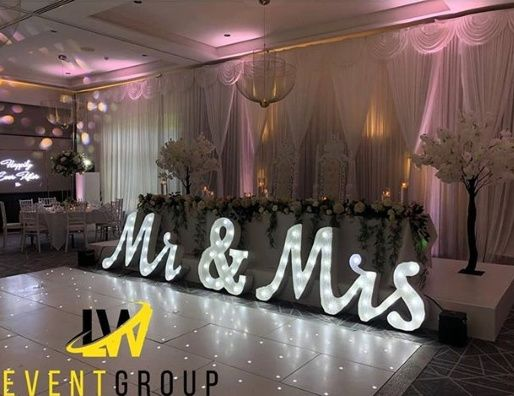 Backdrop and LED letters