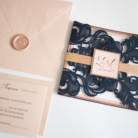 Navy, Rose Gold and Blush