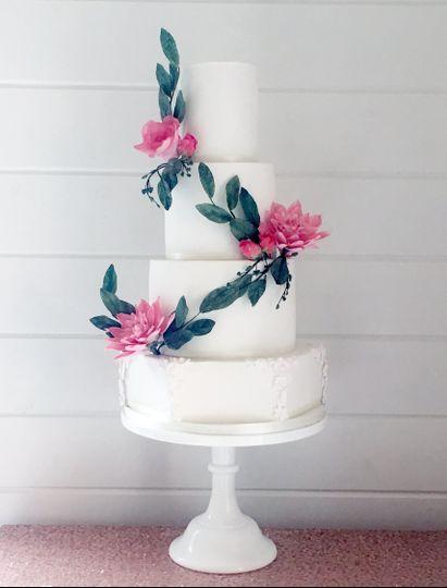 Cascading dahlia wedding cake