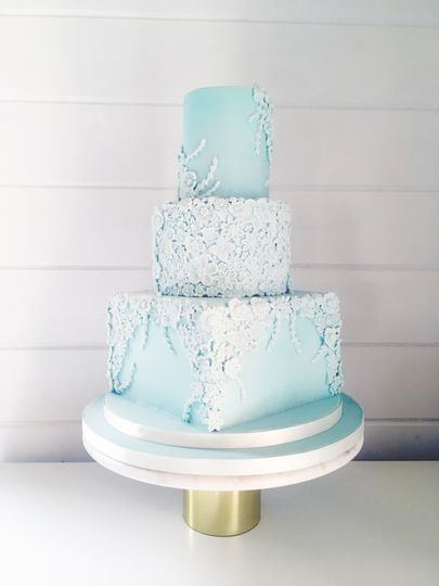 Mint green bas relief wedding cake
