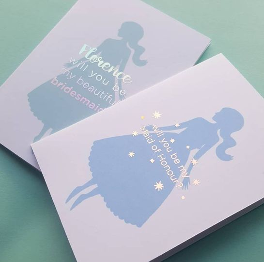 Foiled bridesmaid cards