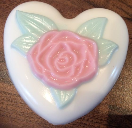 Heart rose soap