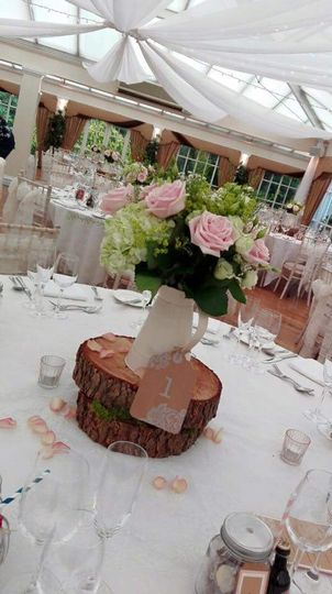 Rustic wooden centrepieces