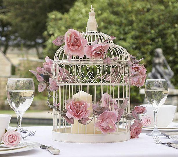 Vintage birdcage centerpieces