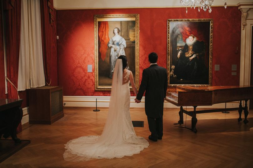 European Art Gallery with Wedding Couple