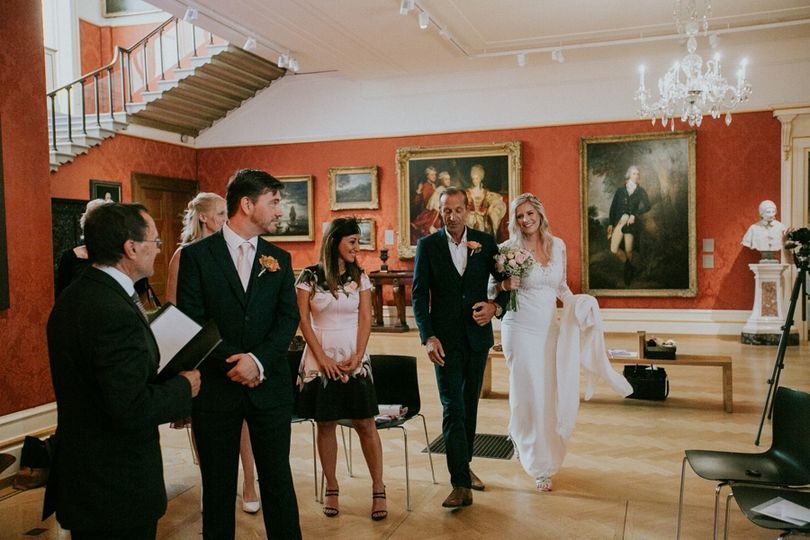 European Art Gallery Intimate Elopement Wedding Ceremony