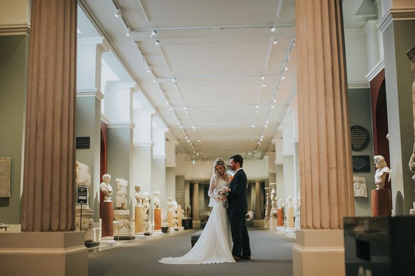 Greek Sculpture Gallery with Wedding Couple