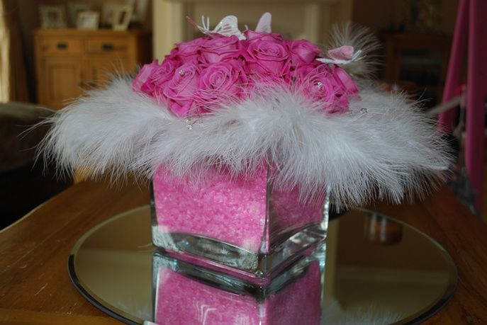 Pink roses,butterflies & feathers