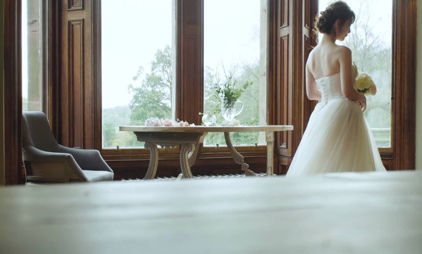 Bride by the windows