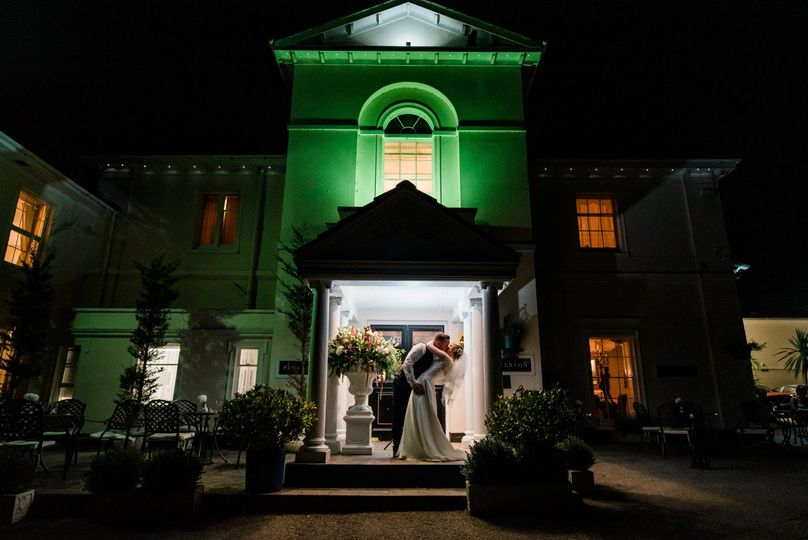 Bride and Groom outside the Penventon Park Hotel