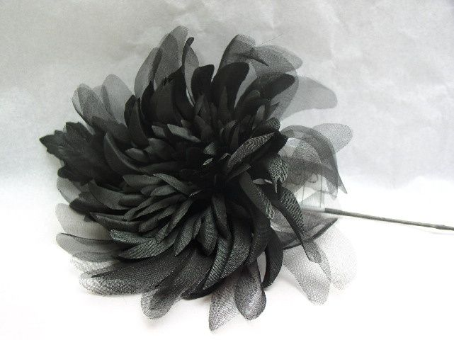 Black silk organza flower