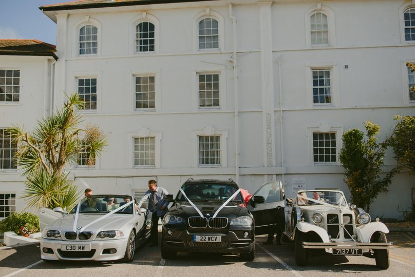 Wedding cars outside the hotel