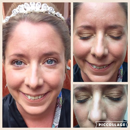 Bridal make-up before and afte