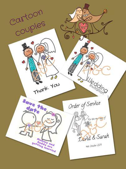 Cartoon couples stationery