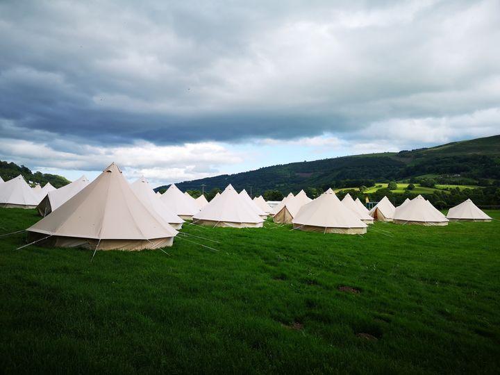 Dozens of tents