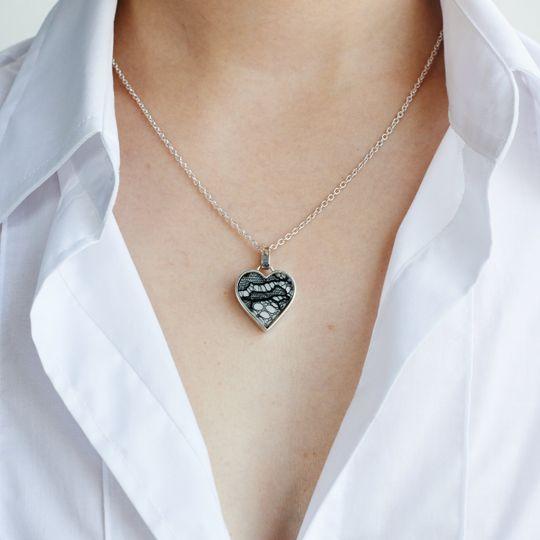 Lace in Silver Heart Pendant