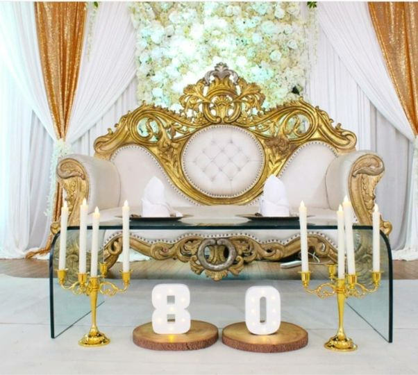 Gold wedding sofa