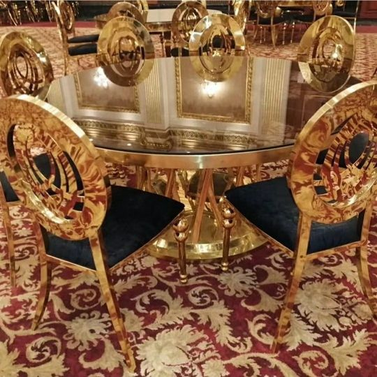 Infinity chairs, gold bamqueting chairs, dior chaird